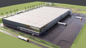 Skiss över lagerbyggnad med lastplatser för långtradare.