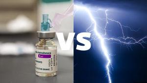 En tudelad bild med Astra Zenecas coronavaccin på vänster sida och en bild av ett blixtnedslag på höger sida.