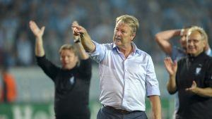Åge Hareide leder ut Malmö på hemmaplan i Champions League.