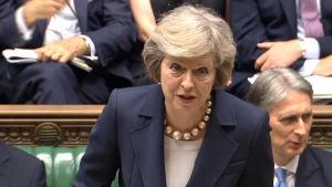 Theresa May under sin första frågestund som premiärminister juli 2016.