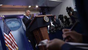 USA:s avgående president Barack Obama talade till pressen 18.1.2017.