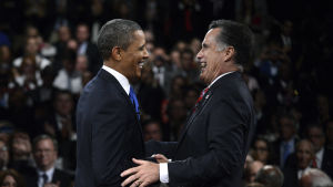 Barack Obama och Mitt Romney under presidentvalskampanjen 2012.