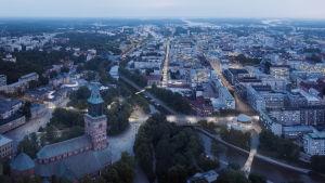 Visioner för Åbo centrum. En flygbild på stadskärnan.