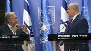 Netanyahu framförde sina anklagelser och hotelser mot Iran under ett möte med FN:s generalsekreterare Antonio Guterres i Israel