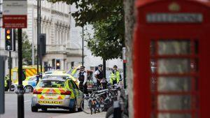 Poliser utanför naturhistoriska museet i London efter incidenten där under lördag eftermiddag.