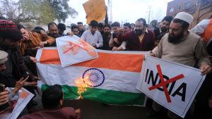 Pakistanska demonstranter arga över en indisk flygräd i Pakistan bränner en indisk flagga.