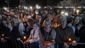 Minneshögtid i den serbiska staden Nis 24 mars 2019 för att minnas dem som dog under Natos flyganfalla mot Jugoslavien. Flyganfallet inleddes 24 mars 1999.