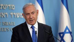 Israels premiärminister Benjamin Netanyahu håller presskonferens torsdagen den 13 augusti med anledning av det historiska fredsavtal som landet slutit med Förenade Arabemiraten.