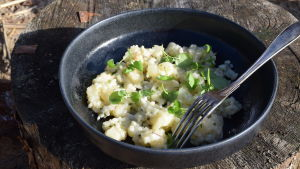 En portion med kassavarisotto