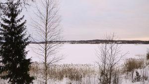 En snötäckt sjö.