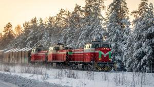 Dieselvetureiden vetämä tavarajuna talvella.