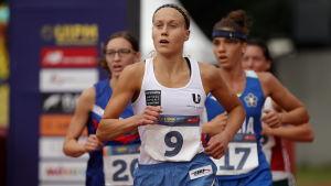 Laura Salminen löper i VM i modern femkamp i Mexico 2018.