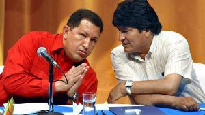 Venezuelas president Hugo Chavez och Bolivias president Evo Morales