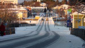 Vy över Kristinestad sett från den gamla järnvägsbron
