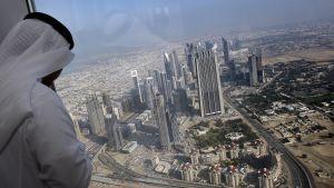 Vy från 124 våningen av Burj Khalifa