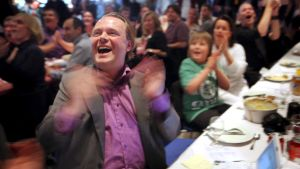Piratpartiets ledare Rick Falkvinge jublade efter EU-valen 2009