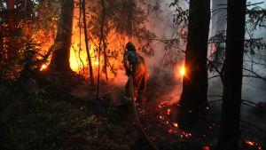 En brandman kämpar mot en till synes övermäktig bran