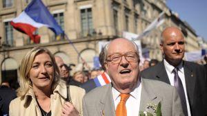 Marine Le Pen och hennes far  Jean-Marie le Pen