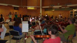 Stråkövning på Martin Wegelius musikläger
