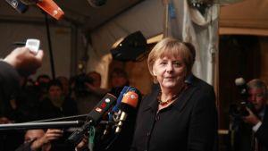 Förbundskansler Angela Merkel vid euromötet i Bryssel 22.10.2011
