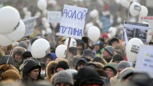 """Oppositionen samlas till demonstration i Moskva 4.2.2012: """"Ner med Putin"""" står det på skylten"""