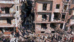 Förödelse efter bombattentat i Aleppo 18.3.2012