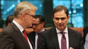 Greklands finansminister Filippos Sachinidis och Olli Rehn