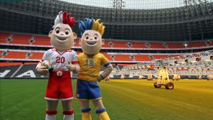 Slavek (20) och Slavko (12) är EM-maskotarna.