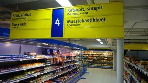 skyltningen i S-market i Borgå centrum