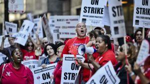 Strejkande lärare i Chicago.