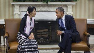Aung San Suu Kyi och Barack Obama