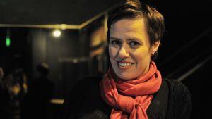 Maarit Feldt-Ranta på socialdemokraternas valvaka på nox i karis.