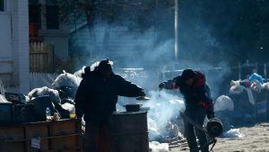 Matlagning i Queens efter orkanen Sandy.
