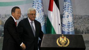 Ban Ki-moon och palestiniernas president Mahmoud Abbas.