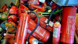 Kasserade brandsläckare
