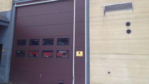 Garage vid den tillfälliga brandstationen vid Pumpviken