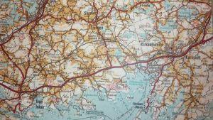 Karta över en del av Porkalaområdet