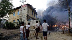 Upplopp i staden Meiktila i Burma