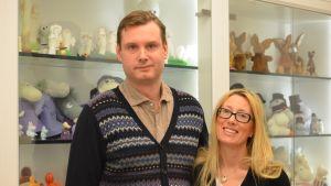 Roleff Kråkström, VD , och Sophia Jansson, konstnärlig ledare på Moomin Characters förbereder sig för jubileumsår