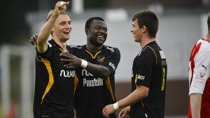 Tim Väyrynen, Gideon Baah, Kastriot Kastrati, FC Honka, juni 2013