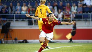 Veronica Bouqete gjorde mål för Spanien.