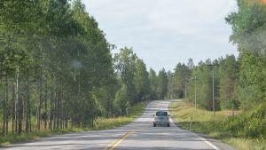 Kurvan innan Mjölbolsta sjukhus, bilden tagen på vägen MOT raseborgs kärna.