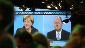 Merkel och Steinbrück i tv-duell inför valet den 22 september