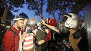 Demonstranter försvarar träden i Geziparken