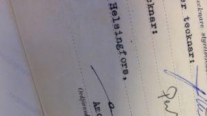 Amos Andersons namnteckning på ett dokument från 1954