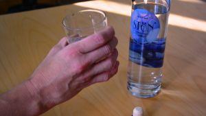 vodkaflaska, glas,