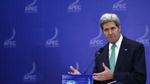 Utrikesminister John Kerry svarar på frågor om den amerikanska budgetkrisen.