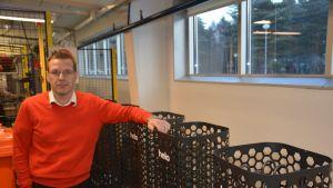 Fabrikschef Markus Lehto vid Helo i Hangö