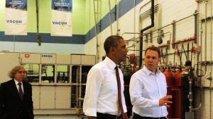 Energiminister Ernest Moniz, president Barack Obama, Dan Isaksson, Vacon