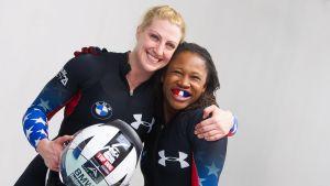 Lauryn Williams (t.h.) & Jamie Greubel, OS 2014